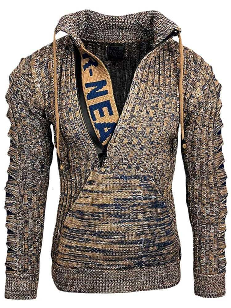 2021 spring men's sweater European men stand collar Pullover Sweaters
