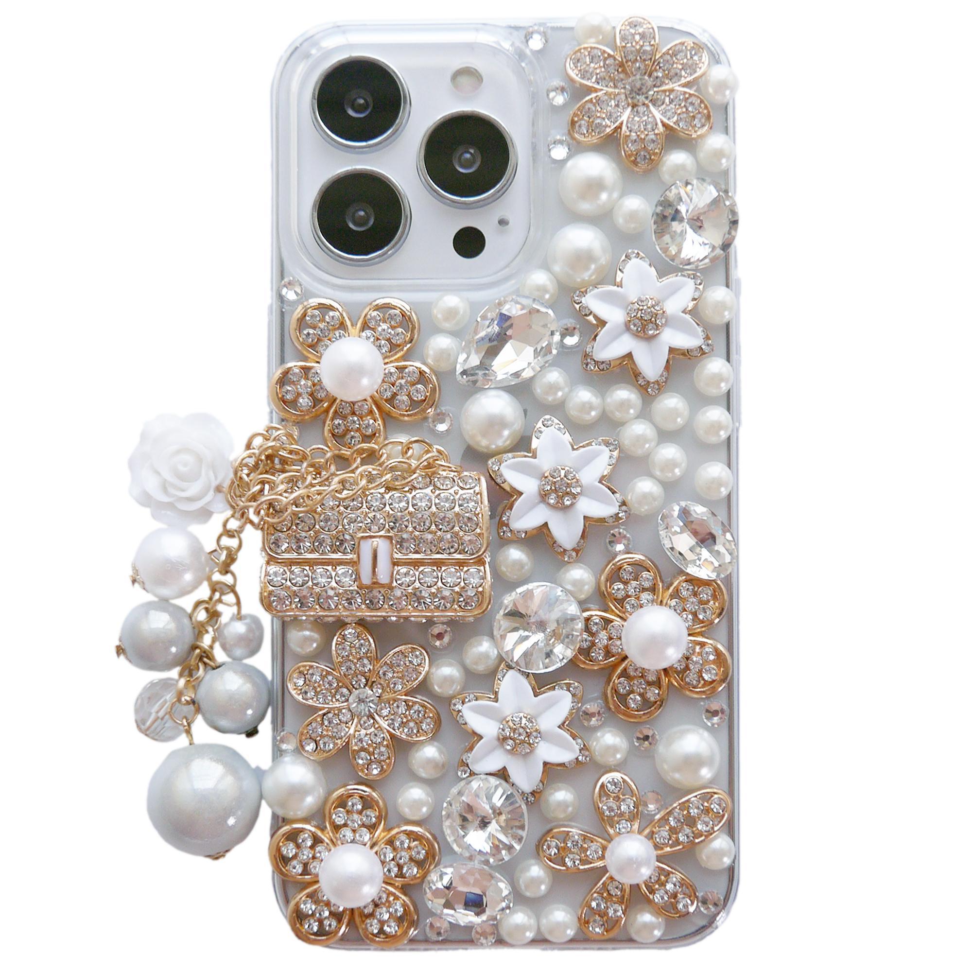 아이폰 케이스 13 12 11 Pro max mini xs xr x 8 7 6s 플러스 여성 반짝이 라인 석 다이아몬드 꽃 명확한 커버