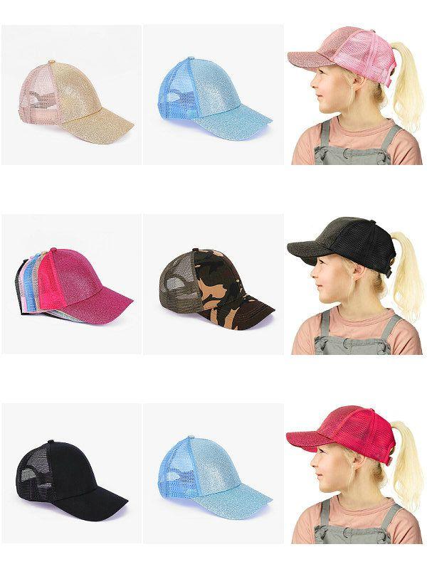5ピースの子供たちのスパンコール野球キャップ2-8Y 9色男の子女の子PonytailボールハットネットSun Hats調整バイザーキャップ子供のブティックアクセサリー