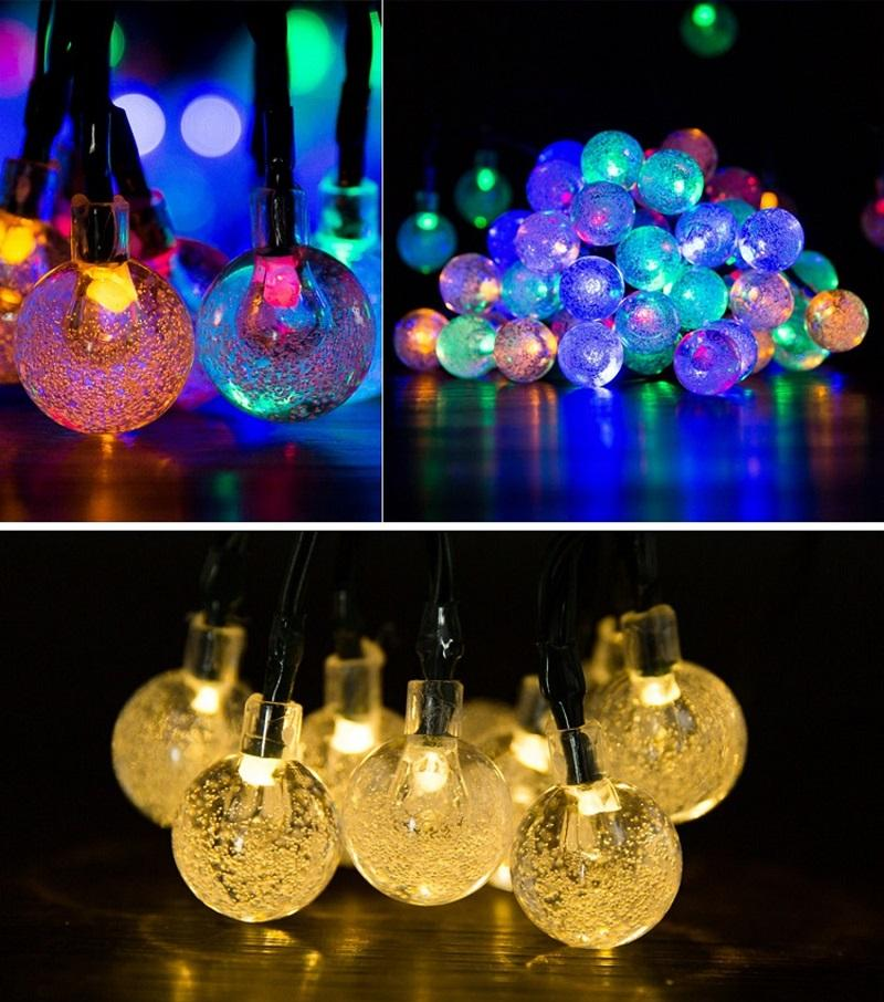 Solar Powered LED String Lights 30 Bulbs Waterproof Crystal Ball Christmas Strings Camping Outdoor Lighting Garden Holiday Party 8 Modes 6.5M W0140