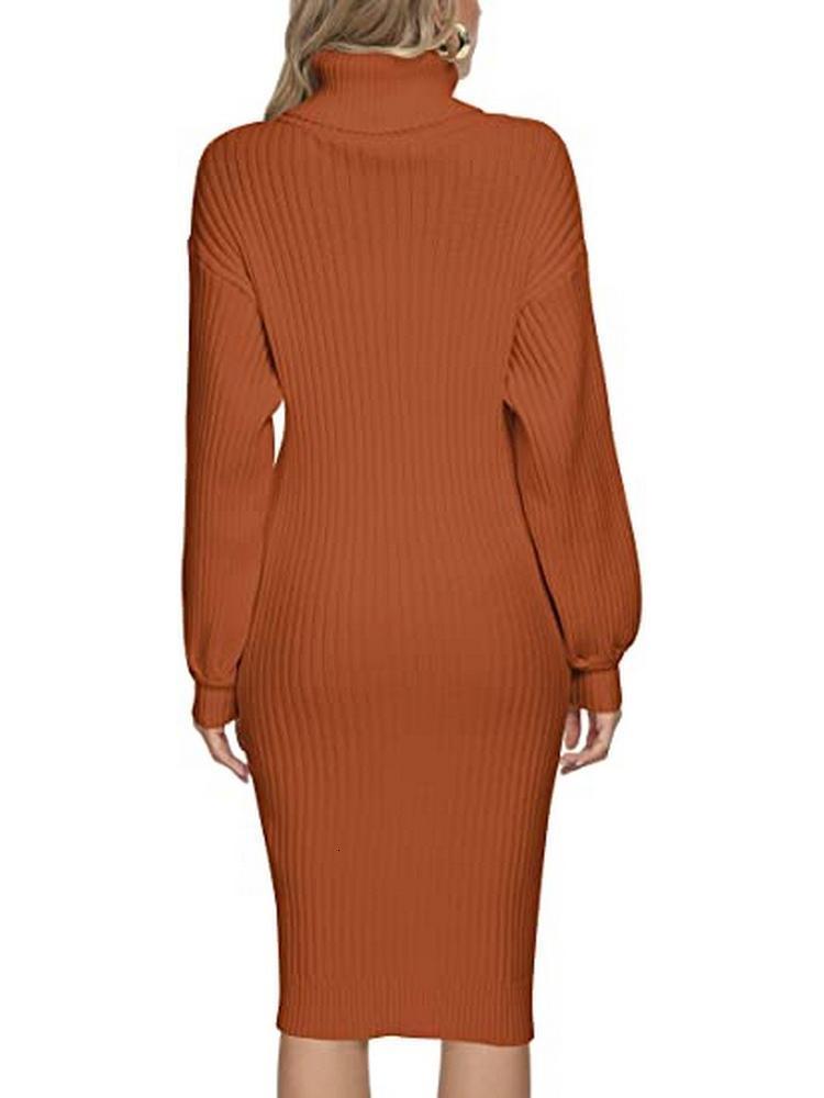 Party Hemd Kleid Langarm Elastisches Rippen Slim Fit Knielange Strickpullover Kleid Arbeitsgeschäftsfrist Womens New Rollkragen