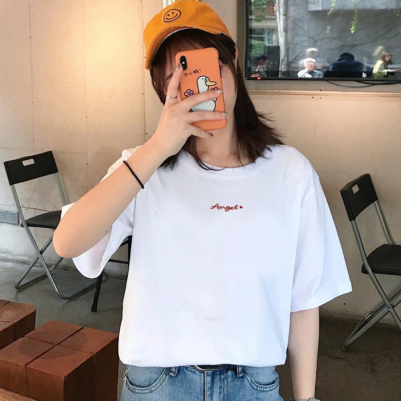 T-shirt à manches courtes en coton Port de femme Grand 2021 Nouveau été Loisirs coréen Loisirs Demi manches en t-shirt en vrac