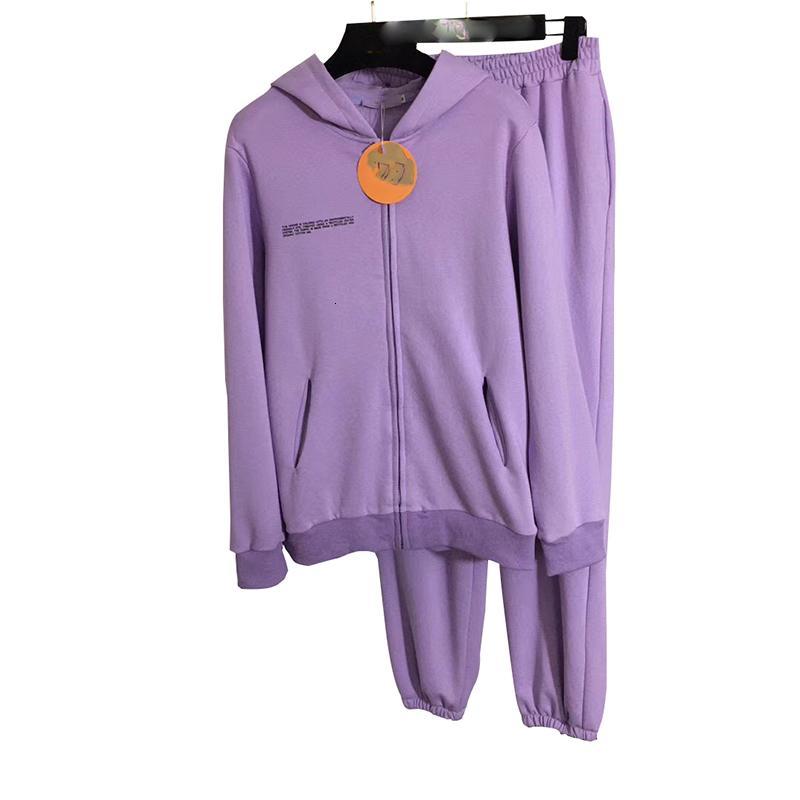 Menkay 100% coton 2021 mode printemps zip-up féminin 2 pièces ensembles de manches longues sweats à capuche et pantalon à deux pièces