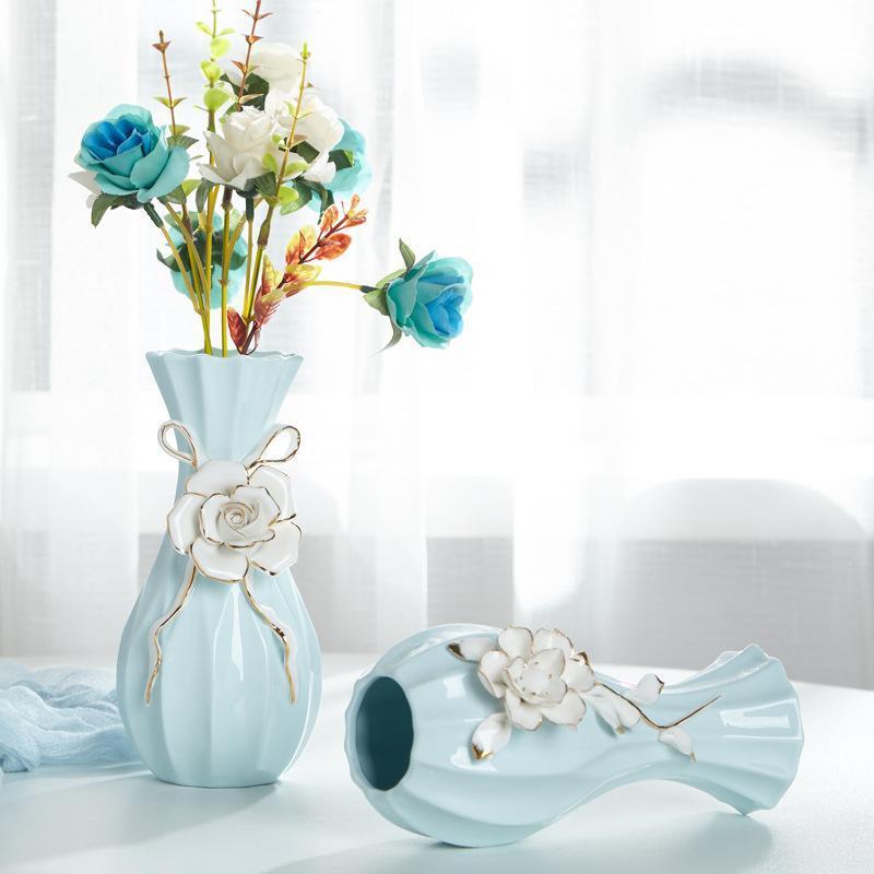 꽃병 도자기 꽃병 거실 테이블 장식 현대 간단한 가정용 결혼식 장식 선물