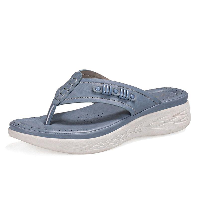 Nuevas mujeres Cuñas Sandalias Sandalias Casual Muffin Slip en Plataforma Flip Flops Ladies Sandalias Partido Peep Toe Sandalias Sandalias Mujer