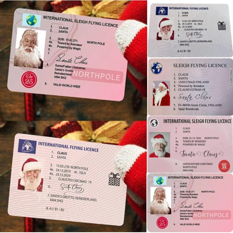 Kreative Santa Claus Fluglizenz Weihnachtsabend Führerschein Weihnachtsgeschenke für Kinder Kinder Weihnachtsbaum Dekoration