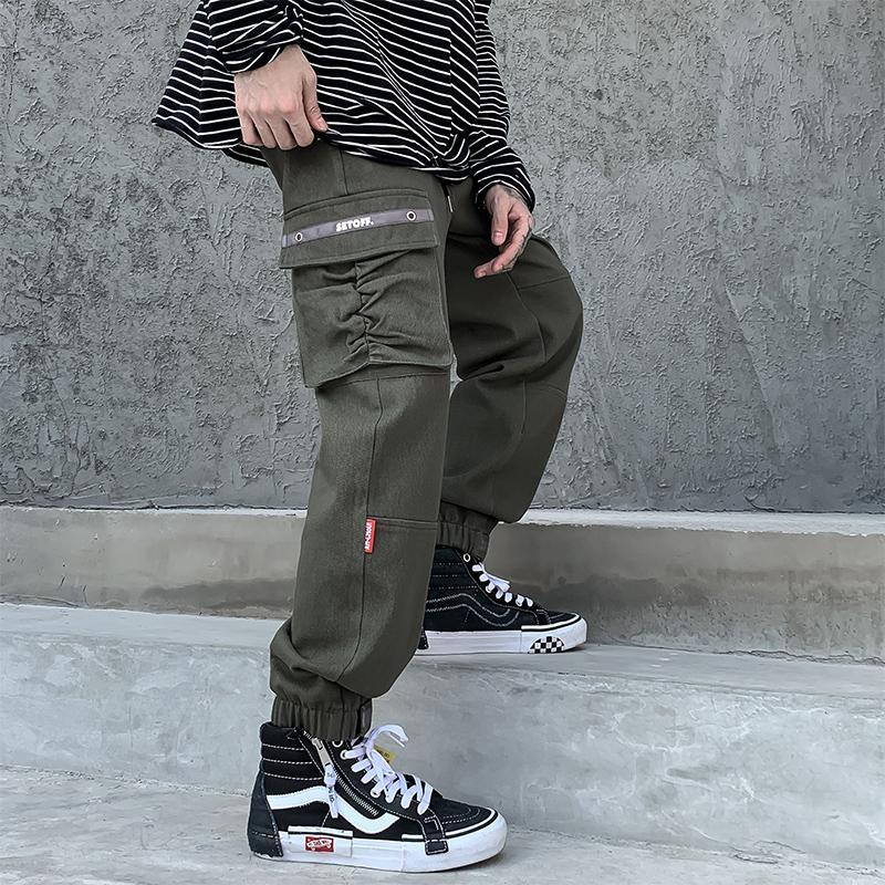 힙합 조깅 남자의 블랙 하렘 멀티 포켓 리본 바지 Streetwear 캐주얼화물