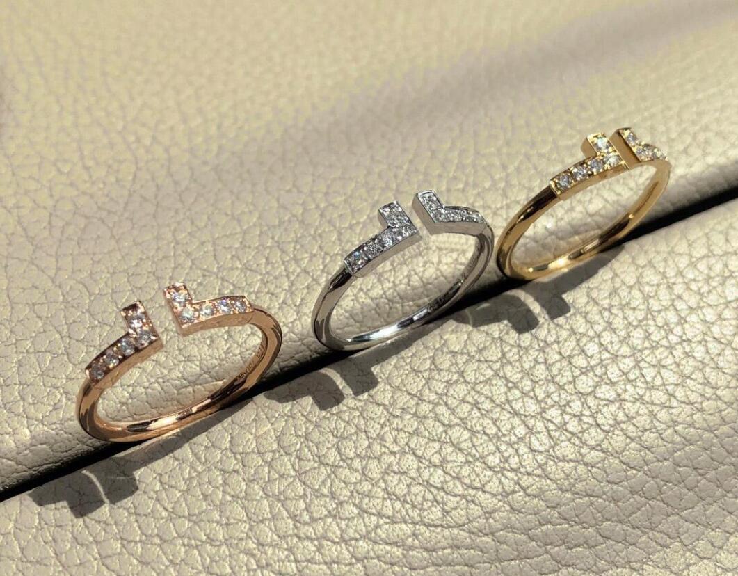 2021 Мода Любовь Ювелирные Изделия S925 Стерлинговые Серебряные Кольца Браслет для Женщин Открыть Алмаз Розовое Золото Буква T Стиль Рождественские Вовлечение Любовь Кольца Для Женщин