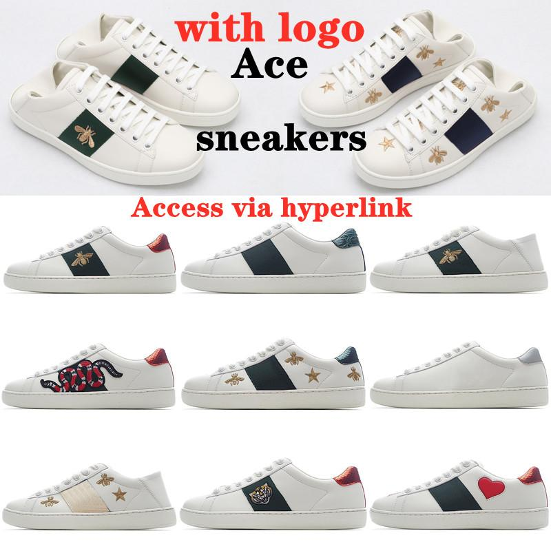 2021 Men Women Sneaker fashion Casual Shoes Snake Chaussures Leather Sneakers Ace Bee Embroidery Stripes Shoe Walking mens Sports Trainers Tiger with logo