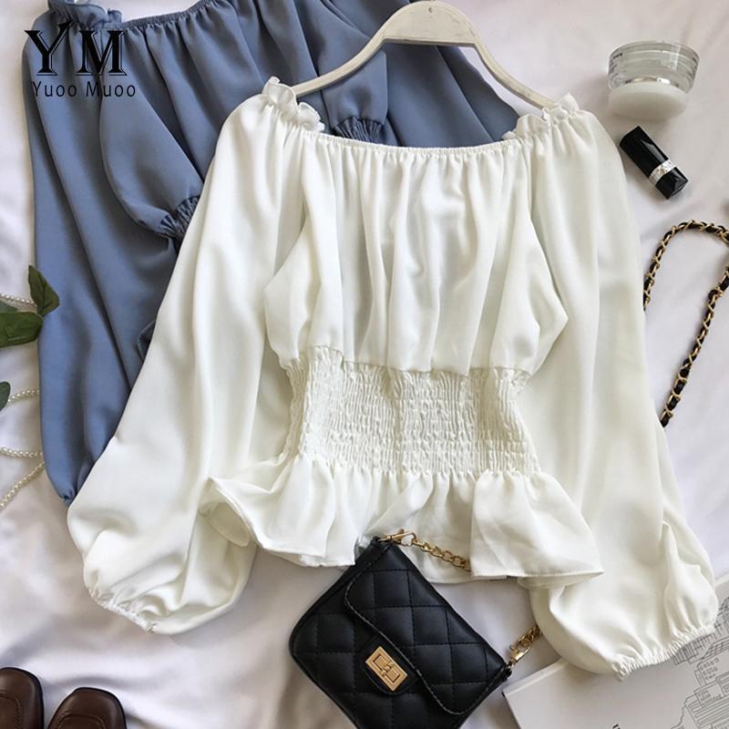 Yuoomuoo long sleeve schulter top 2021 frühling frauen chiffon bluse mode dünne koreanische stil rüsche weiß hemd frauen blusen shirts