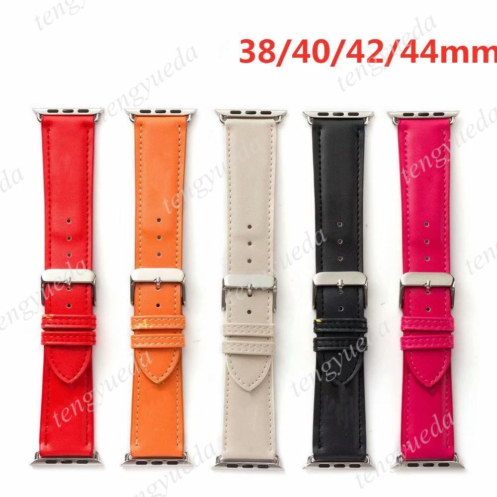 Sangles de montre classiques de mode orange de mode 38mm 40mm 42mm 44mm pour montres Série 1 2 3 4 5 6 cuir de qualité supérieure Bandes Smart Bands de luxe