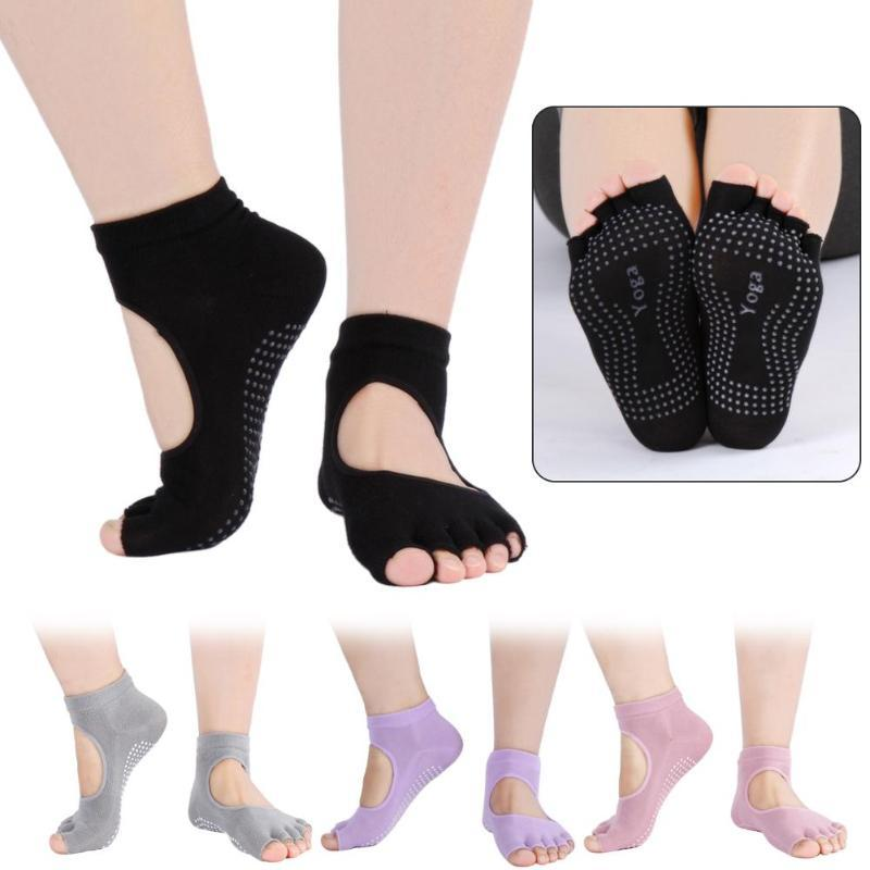 Sports Socks Non-Slip Yoga For Women Two Toes Breathable Stretch Short Hose Exercise Pilates Stocking Quick-Drying Dance Slippers