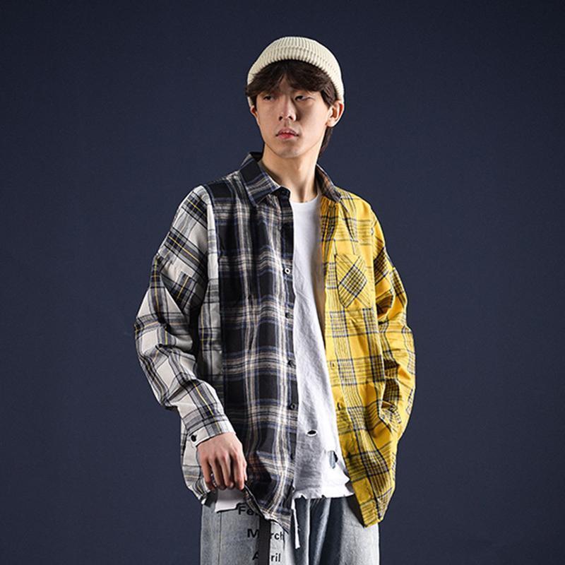 extfine 패치 워크 격자 무늬 긴 소매 셔츠 남성 한국의 Streetwear 봄 셔츠 헐렁한 캐주얼 Kpop 남성 느슨한 블라우스 탑스 남자
