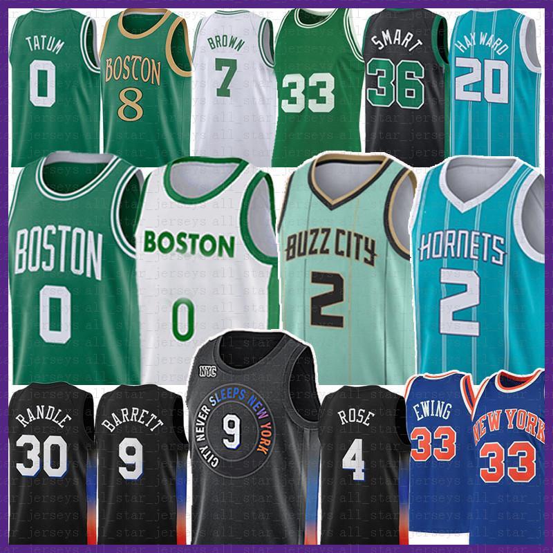 Boston Celtics Jayson Tatum 0 LaMelo Ball RJ Barrett Julius Randle Basketball Jersey Derrick Charlotte New Rose Hornets Kemba York Walker Patrick Knick Ewing Gordon Hayward Brown