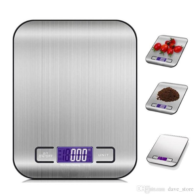 5000g / 1G LED eletrônico eletrônico escala de cozinha multifuncional alimentos em aço inoxidável LCD precisão jóias balança de peso