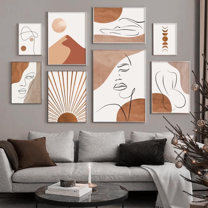 Pinturas Abstract Muchacha Cuerpo Montaña Sunshine Line Wall Art Canvas Pintura Nordic Pósters e impresiones Fotografías para sala de estar decoración