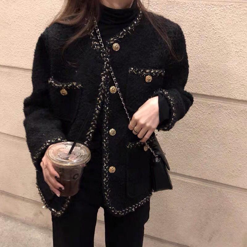 الكورية الإناث الأسود تويد سترة معطف المرأة قميص معاطف قناة نمط دعوى اقتصاص مخطط kawaii جولة الرقبة عارضة المرأة جاكيتات