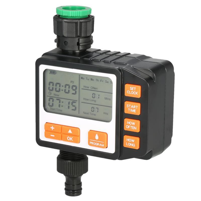 Separate Programs Water Timer 3in Large Screen IP65 Waterproof Auto Manual Mode Hose Sprinkler Single Valve Faucet Watering Equipments