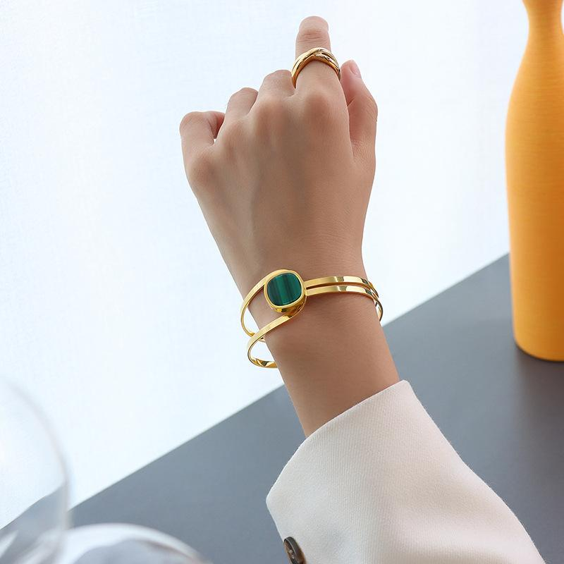 European and American Bangle geometric elements emerald striped acrylic stainless steel fashion Bracelet women