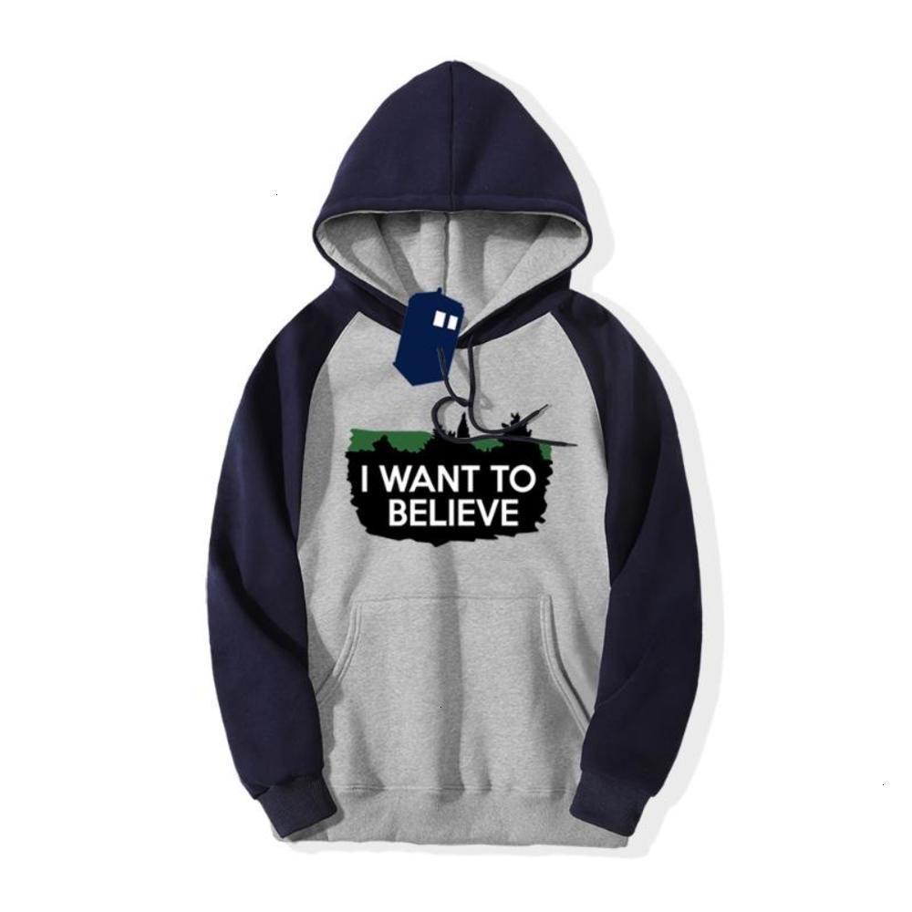 Je veux croire que la télévision Swearover Sweat-shirt Hommes Raglan Sweats Hoodies Casual Polaire Sportswear Tops 2020 Hiver Capuche