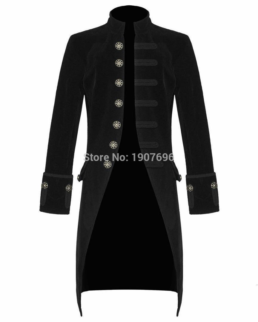 Men's Fashion Steampunk Man Tail Coat Retro Long Jacket Single Breasted Black Male Blazer for Prom Stage Clothes 2019