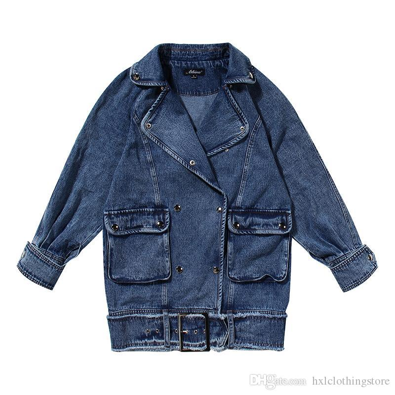 Frauen Mantel Casual Denim Mäntel Jacken Frauen Vintage Lange Jean Mantel Jacken Frau Fashion Casual Jean Tops 2020 Neu