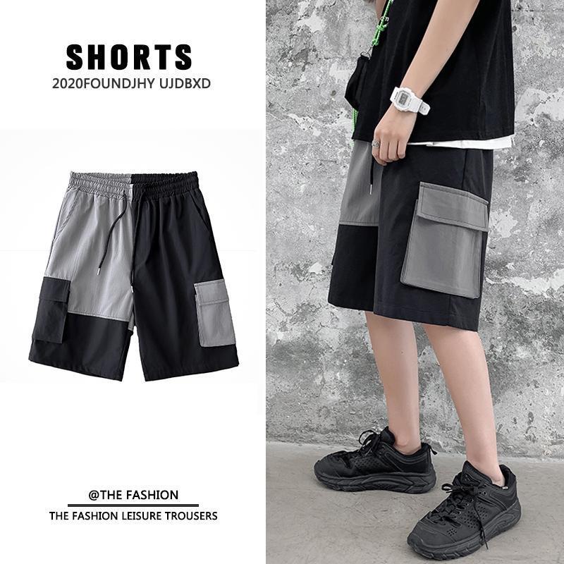 IOSOSSAN 2021 Moda Patchwork Shorts Men Summer Streetwear Pockets Mens Hip Hop Top Calidad Negro Algodón Pantalones cortos Hombres