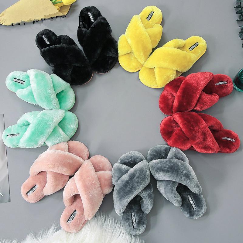 Zapatillas para mujer Zapatillas de interior Invierno Suave Casa Peluche Caliente Sin deslizamiento Pelo plano Casual Femenino Diapositivas
