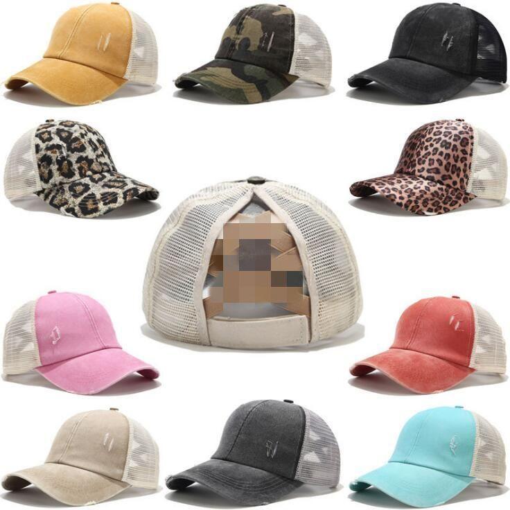 20 색 포니 테일 야구 모자 여성을위한 지저분한 롤빵 모자 씻은 코튼 스냅 백 모자 캐주얼 여름 태양 바이저 야외 모자