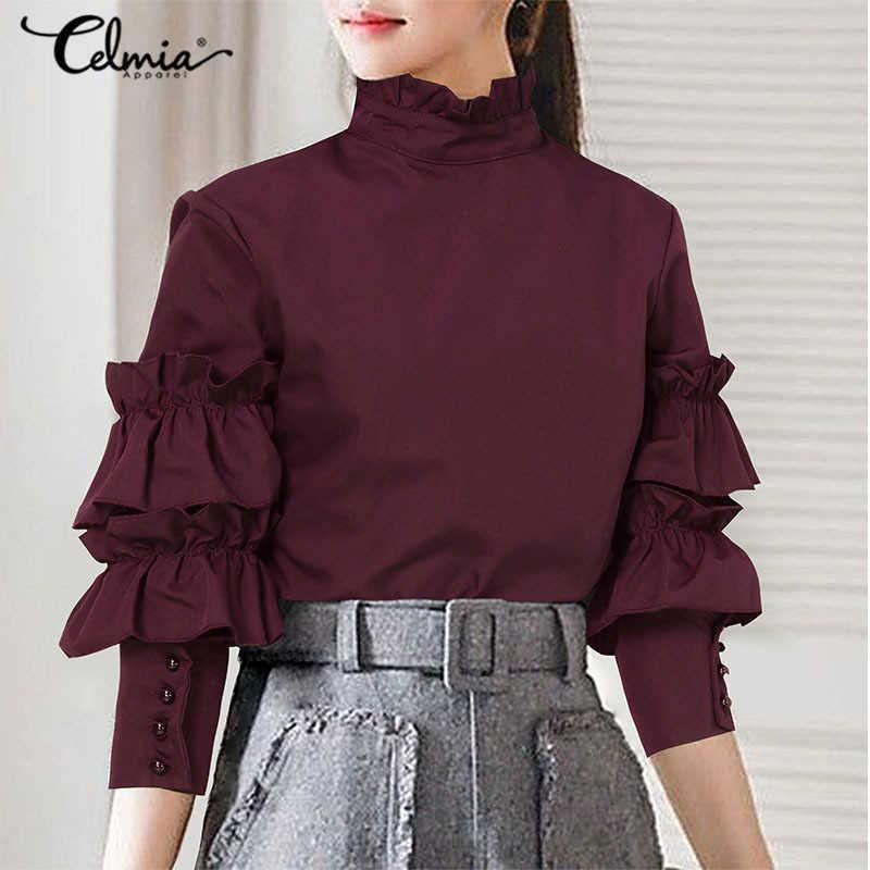 Frauen Blusen Hemden Blusen Celmia Elegante Büro Dame Bluse Frauen Mode Rüschen Laterne Ärmel Lässig Solide Tunika Top High Collar Blusa W2KW