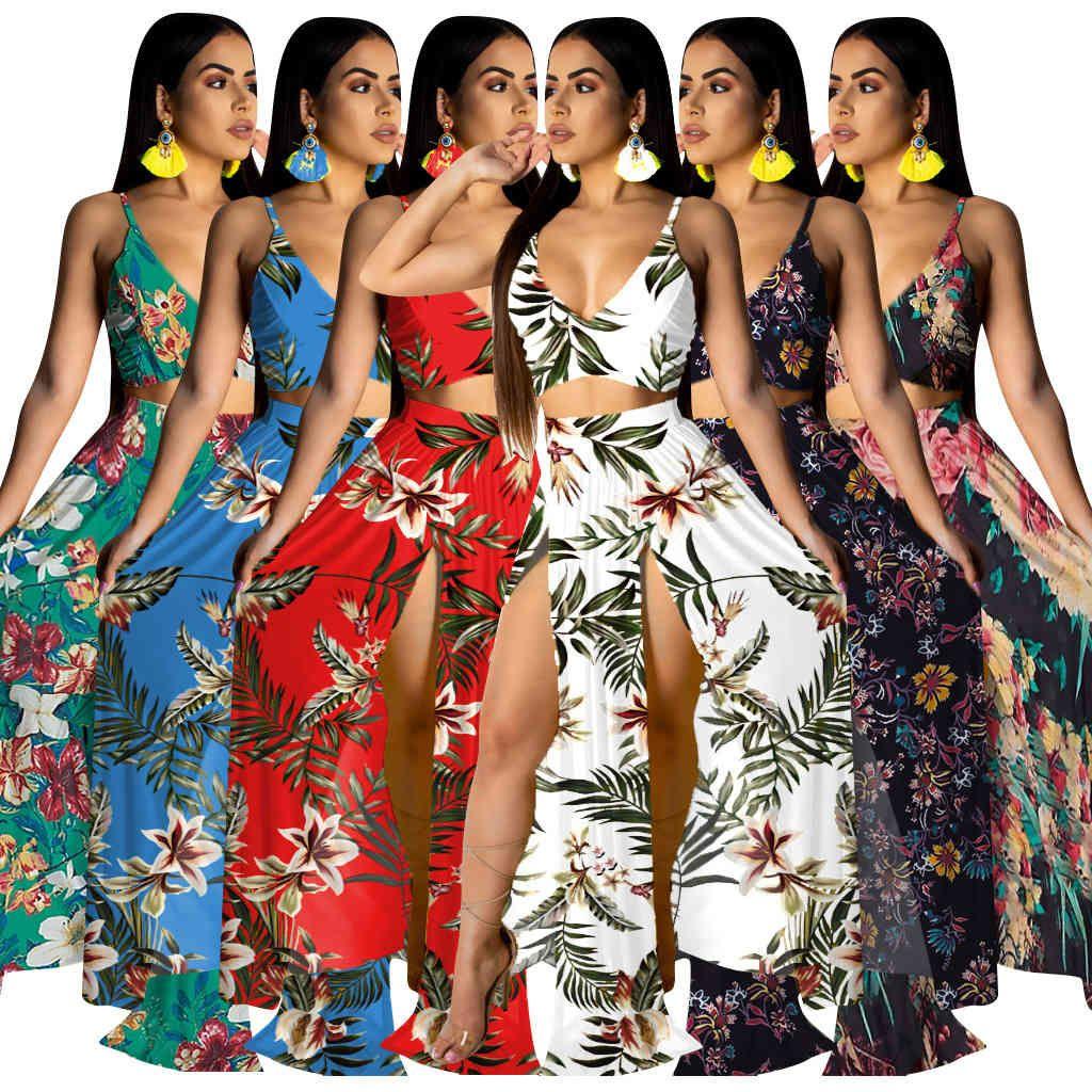 Casual Frauen Rock Zwei Teil Set Druck Blumen Spaghetti Strap Backless + Langes Kleid Trotz Boho Sommer Strandkleid Für Frauen 210506