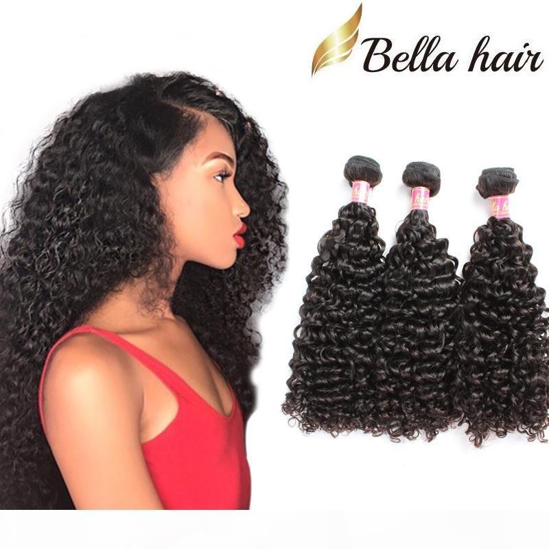 Bella Saç mı? 3 adetgrup Derin Kıvırcık Brezilyalı Saç Paket Çift Boğulu Perulu Kıvırcık Saç Örgü Işlenmemiş RAW Hint İnsan Saç Uzatma