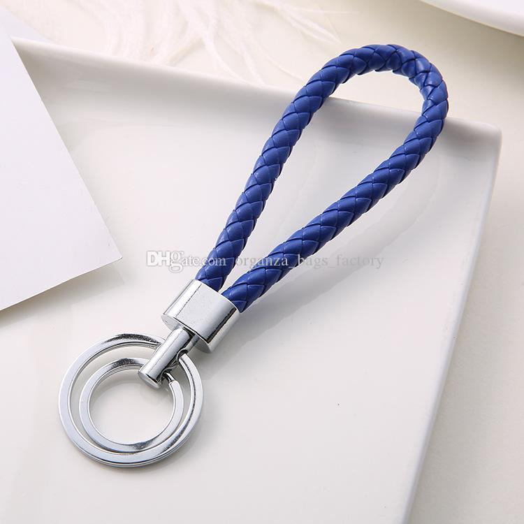 Double Loop PU Couro Trançado Tecido Chaveiro Corda Anéis Fit DIY Círculo Pingente Chaveiro Chaveiro Chaveiros Keyrings Jóias Acessórios