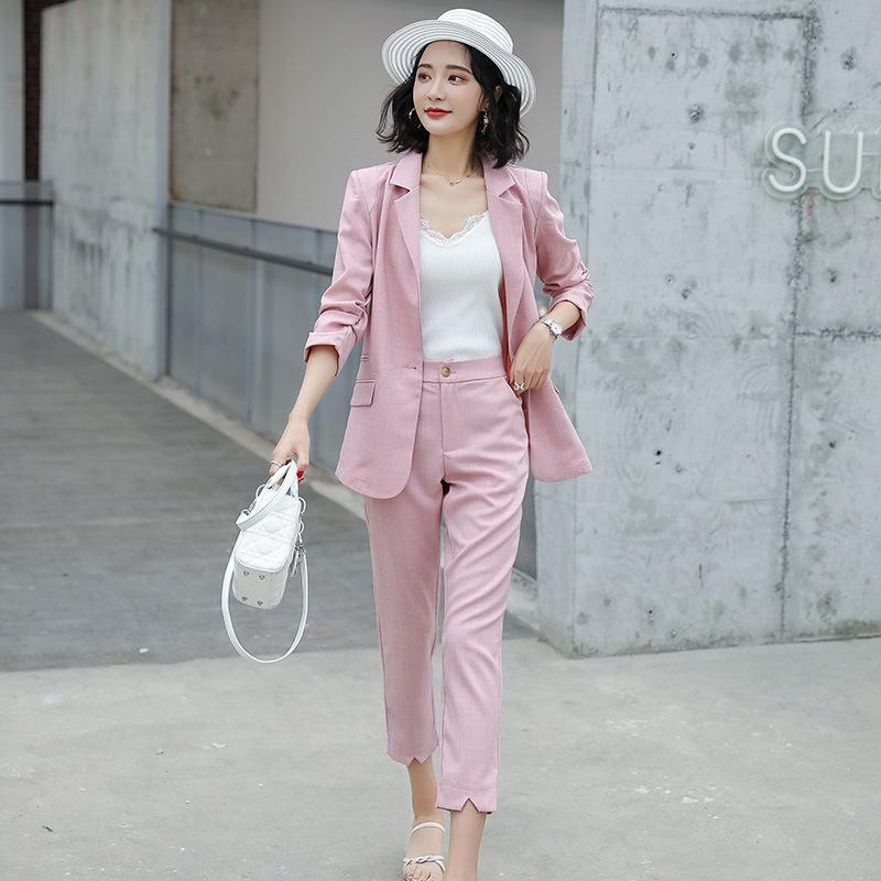 Women's Suits & Blazers Suit 2021 Autumn Casual Fashion Temperament Slim Solid Color Single Buckle Small Trousers Two-piece