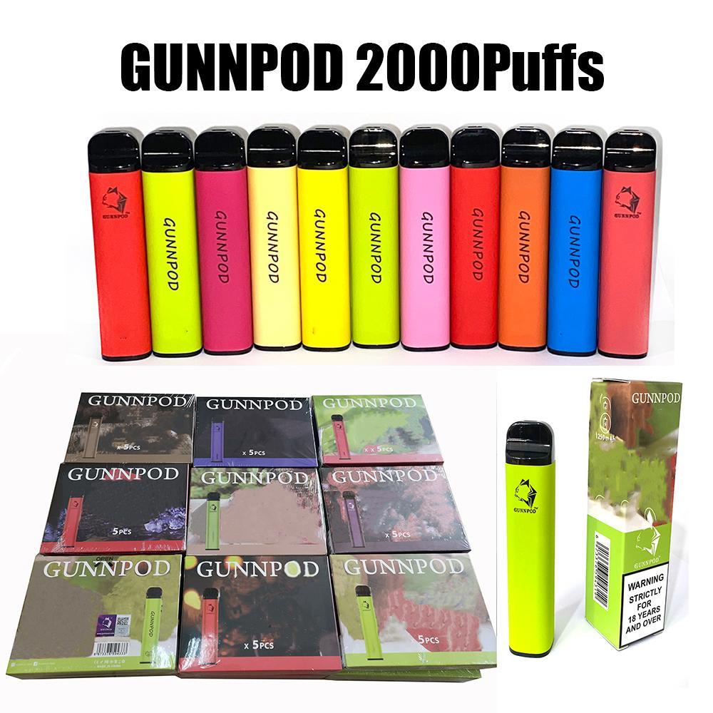 GUNNPOD Sigara Tek Kullanımlık E Sigara Cihazı Kiti 2000 Puffs 1250 mAh Pil Predded 8 ml Pod Stick Vape Kalem 20 Renkler Geek Bar