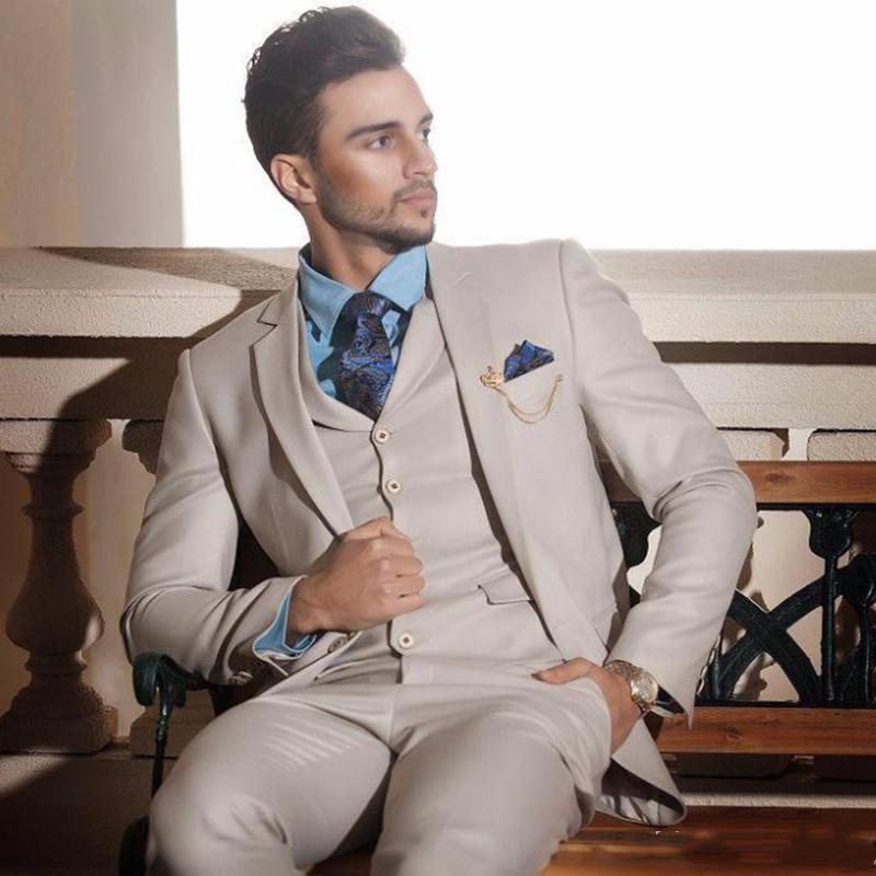 Pièce Set costume Hommes 2021 Blazer pantalon sur mesure Tuxedo Designer Beige Vêtements Formel Slim Fit Fit De Mariage Robe De Mariage Hommes Blazers