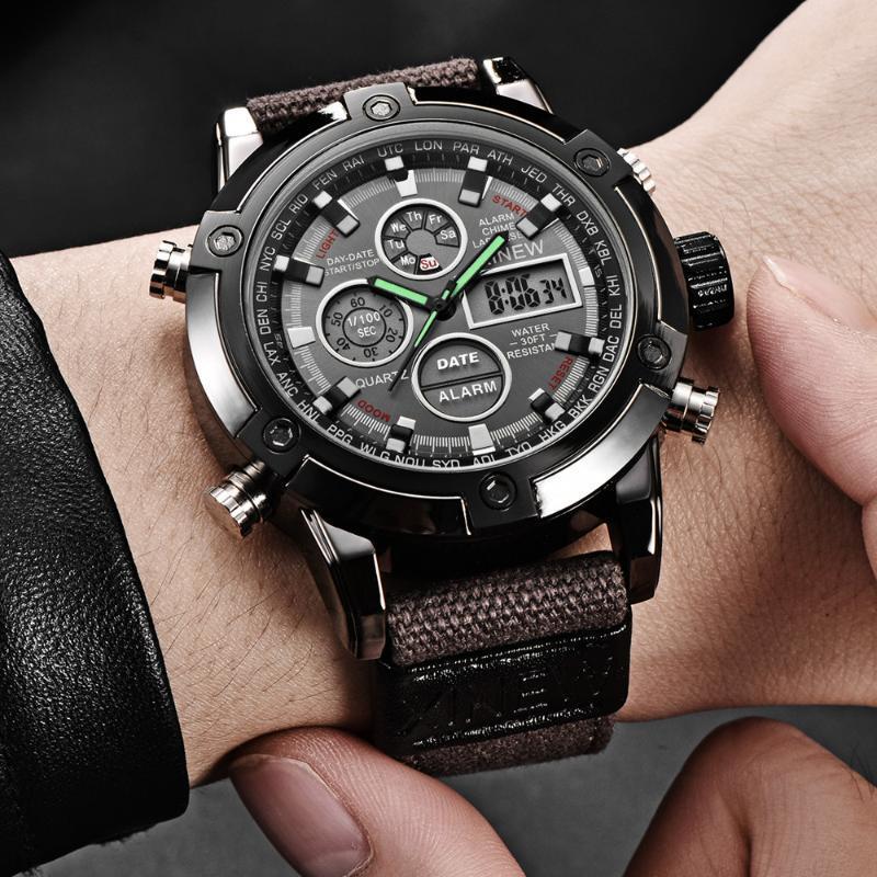 Hommes Military Watch 50mm Big Com cadran LED Quartz Horloge Sport Mâle Relogios Masculino Montre Homme 2021 Montres-bracelets