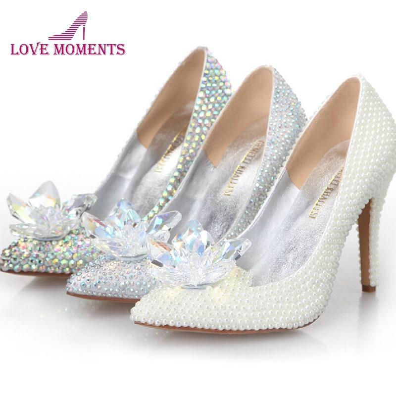 Külkedisi Kristal Ayakkabı Yüksek Topuklu Kadın Çarpıcı Gözlük Terlik Bling Gümüş Rhinestone Gelin Düğün Balo Pompaları Elbise