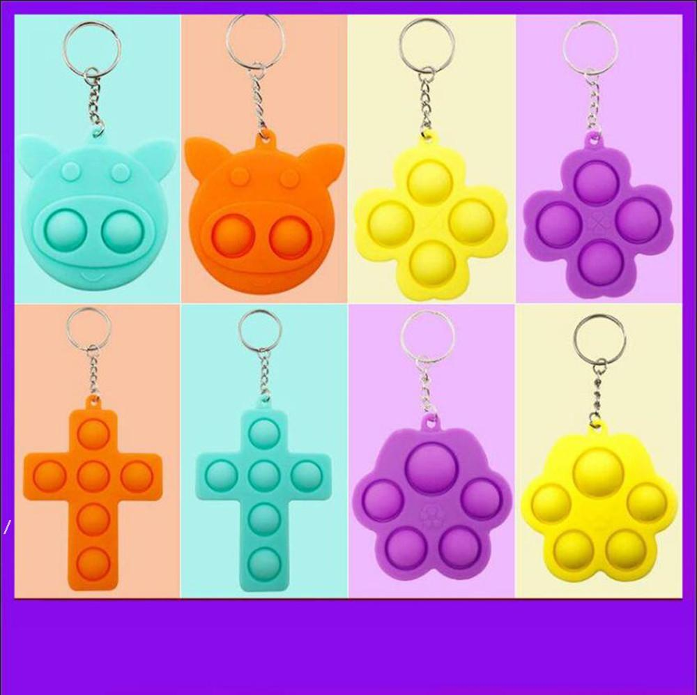 Pig Clover Shape 12 Styless Push Bubble Fidget Toy Keychain Pandent Stress Reliever Sensory Silicone Toy Keyring NHB6219