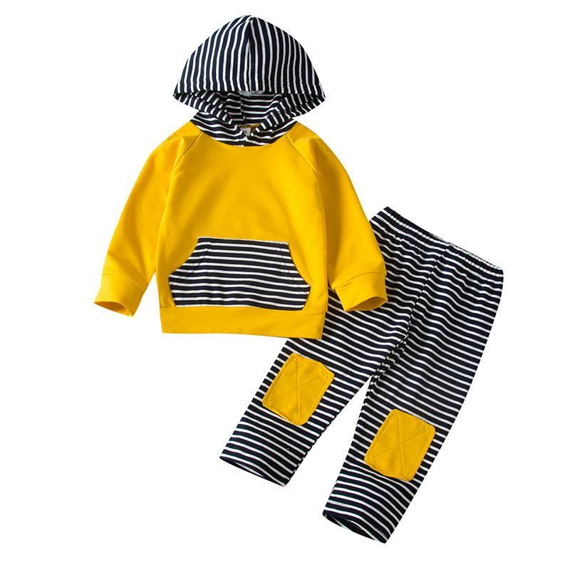 Clothing Sets 0-24M High Quality 2Pcs Baby Boys Stripe Clothes For Toddler Hooded Sweatshirt + Pants Outfits