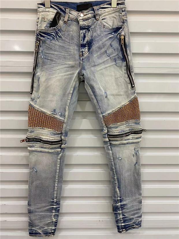 Arrivée 2022ss Mens Jeans Fashion Haute Qualité Hommes confortables Casual Slim-Jambes Couche à glissière longue Pantalon long Pantalon moto Pantalon Simple US Taille W29-W40
