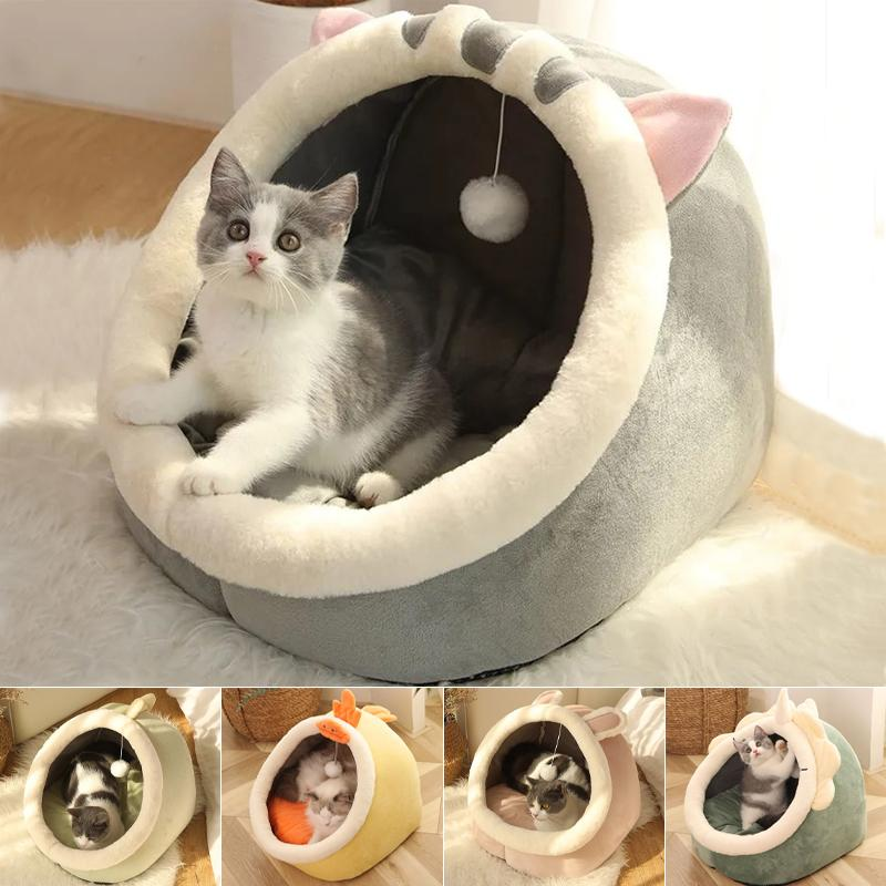 Sweet Cat Bed Warm Pet Basket Carriers Cozy Kitten Lounger Cushion House Tent Very Soft Small Dog Mat Bag For Washable Cave