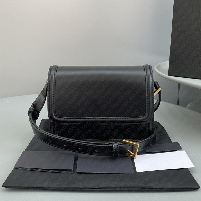 Luxusdesigner Marke Black Box Bag Plain Gold Metall Logo Lock-Taste 2 Größen Echtes Leder Top Qualität Schulter Kreuz Körper Mode Taschen