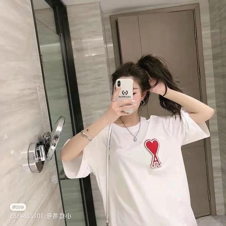 Mme Ami manches courtes pour femmes 2021 Mode T-shirt T-shirt Broderie Scarlet Aimer Un couple