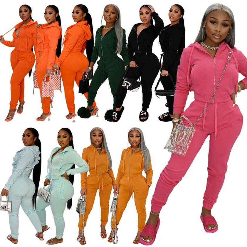 Women Hooded Tracksuits Sets 2 Two Piece Fall Winter Sweat Suits Zipper Hoodie+Pencil Pants Active Outfits Cardigan Jacket Jogging Set Logo Print Casual Sports 5968