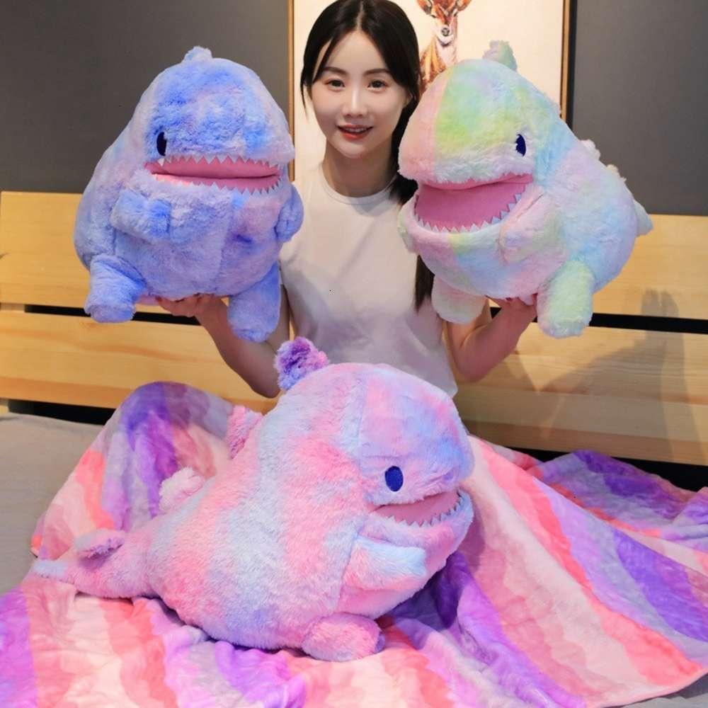 Animais de pelúcia de pelúcia stuuff físicos brinquedos brinquedos arco-íris cobertor dinossauro travesseiro colorido menina boneca presente