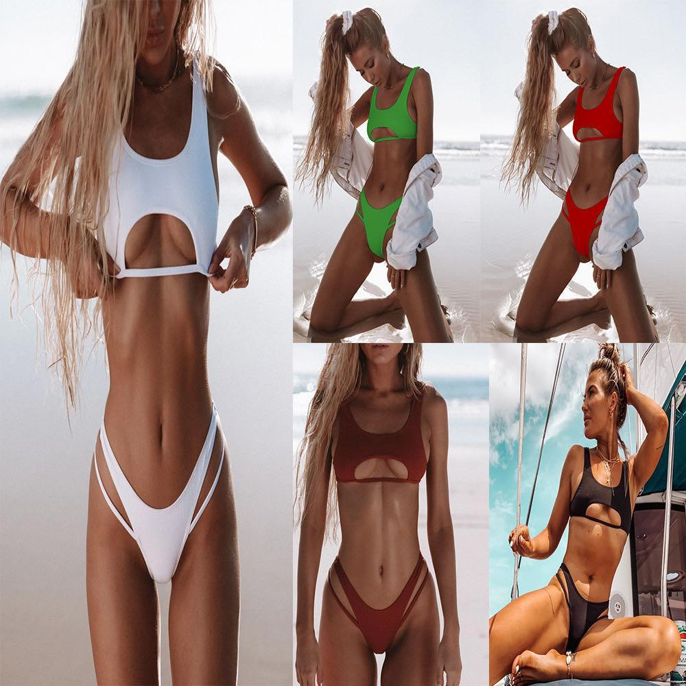 Explosion Bikini Split Hohl Solide Farbe Weste Bikinii Weibliche Badeanzug Split Nylon Multicolor Triangle Tasche Schultergurt Sexy Bikini