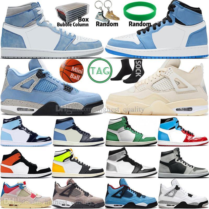 Hyper Royal 1 1S Universidade Blue Mens Sapatos de Basquete 4 4s Sail Obsidian UNC Silver Toe Gato Preto Criado Desbravado Backboard Homens Sem Preatezas Esporte Mulheres Sneakers Trainers