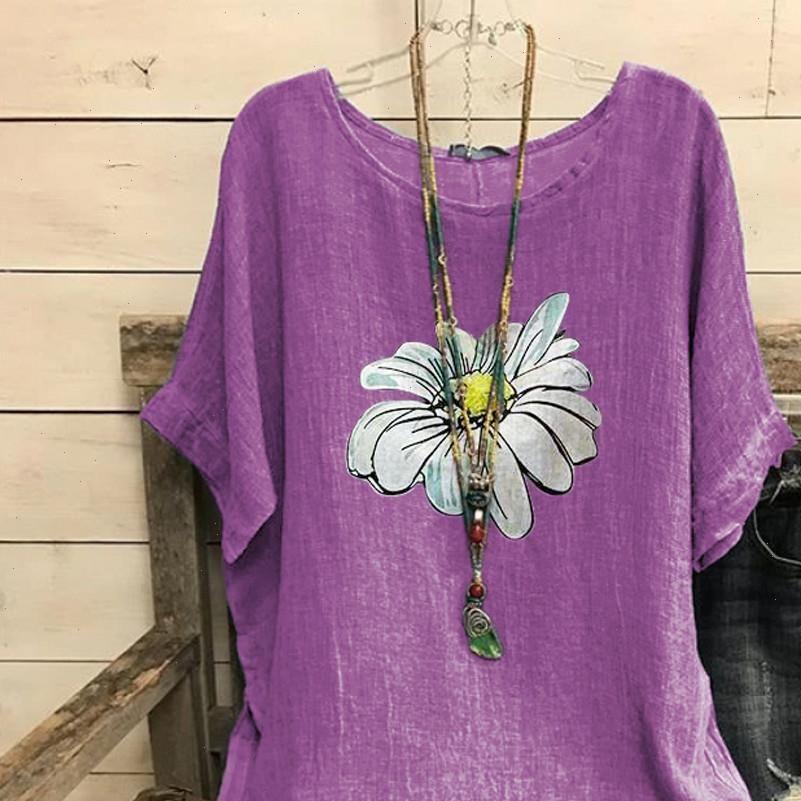 Frau Frauen T Shirts Chrysantheme Print Vintage Baumwolle Mischung O Neck Kurzarm Top Sommer Weibliche T-Shirt Camiseta Feminina