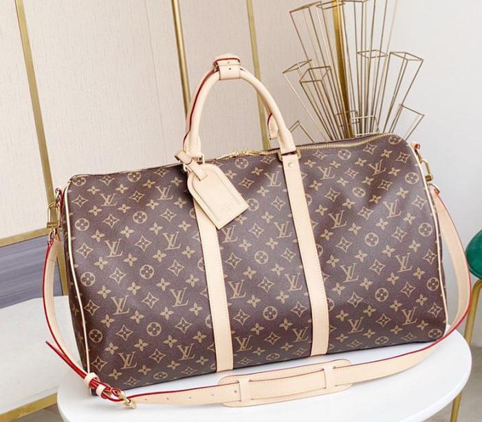 """LV """"Louis""""Vitton 가방 """"Vutton 100 % 정품 가죽 남자 여행 가방 대형 스포츠 가방 디자이너 핸드백 더플 야외 수화물 가방 디자이너 가방"""